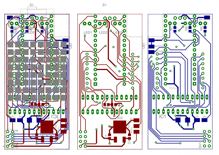 TeleBall PCB Schematics - left all layers, middle top layer, right bottom layer.